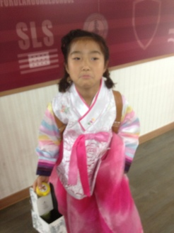 The hanbok modeled by Karen.