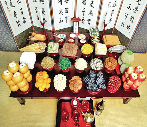 Traditional foods and songpyon (rice cakes)