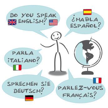 Fremdsprachen Sprechblasen, französisch, englisch, sprachen
